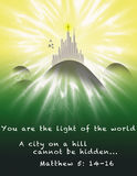 City on a Hill. Illustration of a city on a mountain with a crucifix on the highest building for the Christian Bible quote Matthew 5:14-16 --  You are the light Stock Images