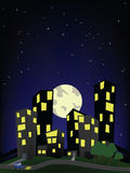 City on a hill, night scene. A cartoon depiction of the city on the hill, a night scene Stock Photos