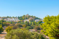 City on the hills. Athens is one of few cities, where archaeological sites neighbors with residential houses. Greece Stock Photos