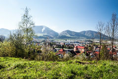 City with hills on the background and clear sky. Kysucke Nove Mesto city with hills on the background and clear sky in Slovakia during nice spring day Stock Photography