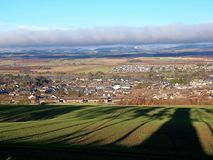 A city among hills ... Landscape from the hill to the Forfar area and the surrounding hills Royalty Free Stock Image