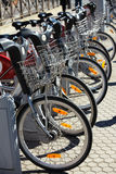City Hire Bicycles Parked In Row Royalty Free Stock Images