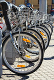 City Hire Bicycles Parked In Row Royalty Free Stock Photos