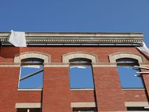 City: historic brick facade under renovation Royalty Free Stock Images