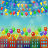 City holiday background with balloon. Festive city background. Different Colors Garlands and Balloons on a town. Vector illustration for greeting and post cards Stock Image