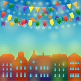 City holiday background. Festive city background. Different Colors Garlands on a town. Vector illustration for greeting and post cards Royalty Free Stock Image