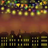 City holiday background. Night Festive city background. Different Colors Garlands on a town. Vector illustration for greeting and post cards Stock Photos