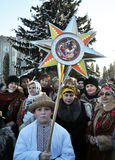 City Holiday Christmas carols. Chortkiv - Ternopil - Ukraine - January 9, 2016. Traditional Christmas carols urban celebration that takes place every year in stock photo