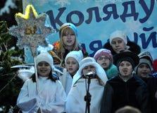 City Holiday Christmas carols_36 Royalty Free Stock Photos