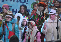 City Holiday Christmas carols_32 Royalty Free Stock Photography