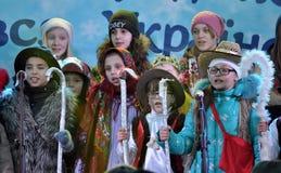 City Holiday Christmas carols_45 Royalty Free Stock Photos