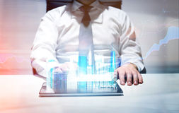 City hologram and business chart Stock Photos