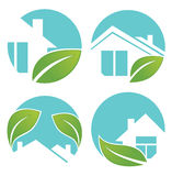 City and homes signs and icons. Set of peaceful and ecological city and homes Royalty Free Stock Photo