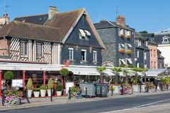 City of Honfleur with historic buildings and restaurants in France Stock Image