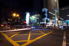 Busy city on zebra crossing street- Hong Kong stock image