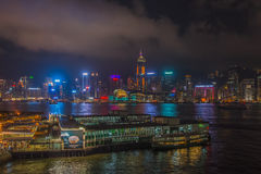 Beautiful West Kowloon night stock photography