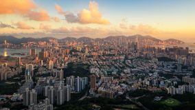 City from Hongkong. Cityscape panorama in Hongkong Island before sunset stock image
