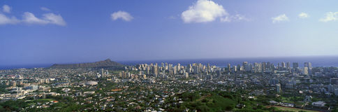 City of Honolulu and Diamond Head Volcano, Oahu, Hawaii Royalty Free Stock Images