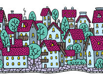 City horizontally seamless pattern with roofs Stock Photos