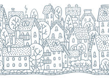 City horizontally seamless pattern with roofs. City horizontally seamless monochrome pattern with houses, trees and roofs Royalty Free Stock Photos