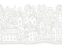 City horizontally seamless pattern with roofs Royalty Free Stock Photo