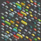 City horrendous traffic jams Isometric projection view. A lot of many cars Vector illustration on background Stock Image