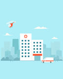 City Hospital building. Hospital building with ambilance car and helicopter. Vector illustration vector illustration