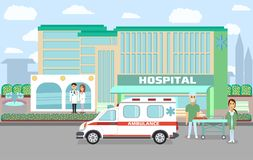 City hospital building. With ambulance, doctor, nurses and surgeon in flat style vector illustration