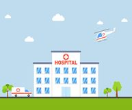 City Hospital building with ambulance and helicopter in flat design. Clinic Vector Stock Image