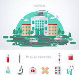 City Hospital Building with Helicopter. City Hospital Building with Ambulance and Helicopter. Flat Vector illustration. Concept for Healthcare, Medical Center Stock Photography