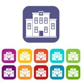 City hospital building icons set flat Stock Image