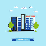 City hospital building vector illustration in flat style. Modern design. Medical center concept Royalty Free Stock Photography