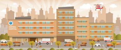 City hospital. Vector illustration of city hospital in retro colors royalty free illustration