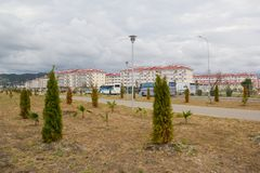 City-hotel `Velvet seasons`. ADLER, RUSSIA - AUGUST 9, 2014: `Catherine`s block` city-hotel `Velvet seasons`. The hotel complex is built for a summer Olympic stock photo