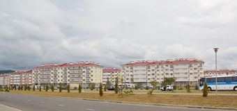 City-hotel `Velvet seasons`. ADLER, RUSSIA - AUGUST 9, 2014: `Catherine`s block` city-hotel `Velvet seasons`. The hotel complex is built for a summer Olympic royalty free stock photography
