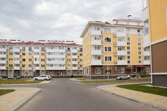 City-hotel `Velvet seasons`. ADLER, RUSSIA - AUGUST 9, 2014: `Catherine`s block` city-hotel `Velvet seasons`. The hotel complex is built for a summer Olympic stock image