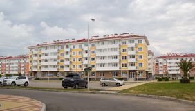 City-hotel `Velvet seasons`. ADLER, RUSSIA - AUGUST 9, 2014: `Catherine`s block` city-hotel `Velvet seasons`. The hotel complex is built for a summer Olympic royalty free stock image