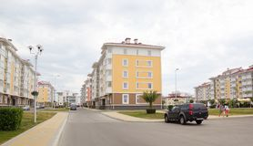 City-hotel `Velvet seasons`. ADLER, RUSSIA - AUGUST 9, 2014: `Catherine`s block` city-hotel `Velvet seasons`. The hotel complex is built for a summer Olympic royalty free stock photo