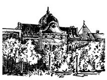 City house. Black and white ink drawing of city house in Kikinda Banat Vojvodina Serbia Royalty Free Stock Photography