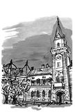 City house. Black and white ink drawing of city house in Kikinda Banat Vojvodina Serbia Royalty Free Stock Image
