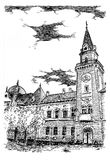 City house. Black and white ink drawing of city house in Kikinda Banat Vojvodina Serbia Stock Image