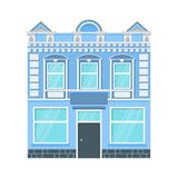 City house icon. Old urban buildings, vintage buildings, cozy streets of the sleeping area of the city. Flat vector cartoon illustration. Objects isolated on royalty free illustration
