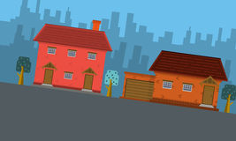 City with house landscape of vector flat. Collection Stock Photography