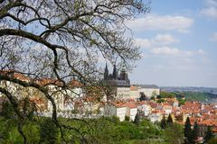 City. House sky Praga spring stock photo