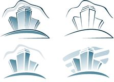 City houses. Four logos of city houses Stock Image