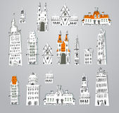 City houses and building set Stock Image