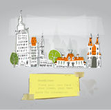 City houses and building set. Sketch Stock Images