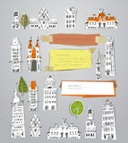 City houses and building set Royalty Free Stock Photo