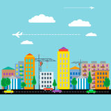 City with houses, cars, crane and plane. Flat design. Vector Stock Images