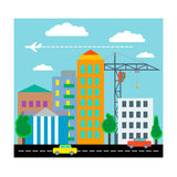 City with houses, cars,  crane and plane. Flat design. Vector Royalty Free Stock Images